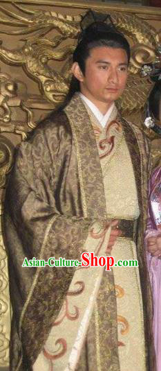 Chinese Ancient Tragedy of the Poet King Li Yu Replica Costume for Men