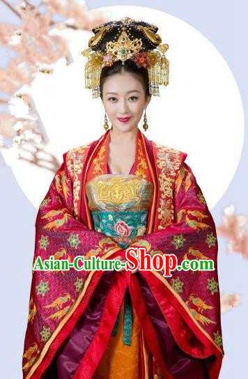 Chinese Song Dynasty Empress of Zhao Zhen Embroidered Dress Ancient Queen Replica Costume for Women