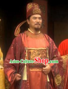 Ancient Chinese Song Dynasty Dunhuang Khrom Cao Shunde Replica Costume for Men