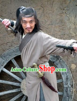 Chinese Ancient Novel Water Margin Character Shi Qian Costume Song Dynasty Mount Liang Hero Replica Costume