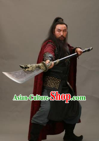 Chinese Ancient Novel Water Margin Character Guan Sheng Costume Song Dynasty Mount Liang Castellan Replica Costume