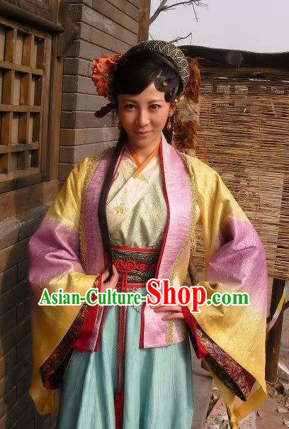 Chinese Ancient Costume Song Dynasty Novel Water Margin Character Courtesan Bai Xiuying Replica Costume for Women