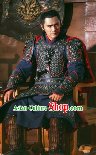 Ancient Chinese Southern Song Dynasty General Han Shizhong Replica Costume Helmet and Armour for Men