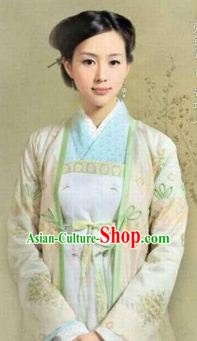 Chinese Ancient Southern Song Dynasty Female Weavers Huang Daopo Replica Costume for Women