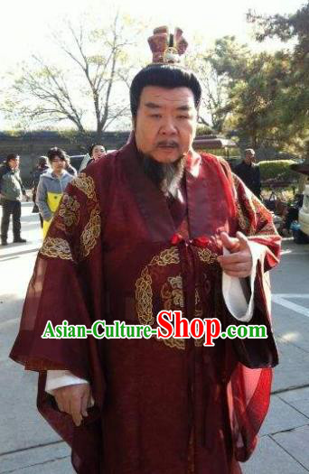 Chinese Ancient Song Dynasty Prime Minister Calligrapher Cai Jing Replica Costume for Men