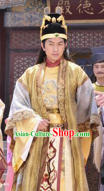 Chinese Ancient Song Dynasty Ying Emperor Zhao Shu Embroidered Replica Costume for Men