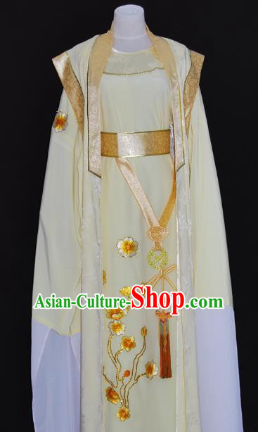China Traditional Beijing Opera Niche Yellow Robe Chinese Peking Opera Scholar Costume