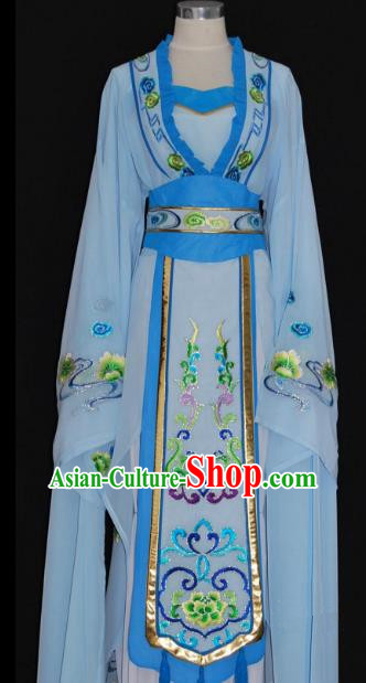 China Traditional Beijing Opera Actress Costume Chinese Shaoxing Opera Huadan Embroidered Blue Dress