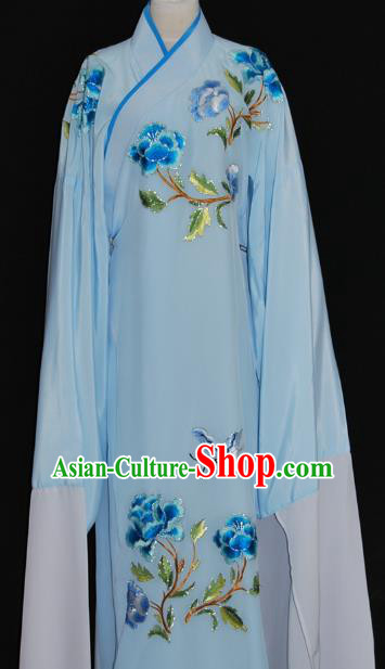 China Traditional Beijing Opera Niche Embroidered Blue Robe Chinese Peking Opera Scholar Costume