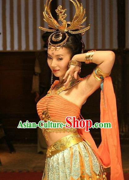Chinese Ancient Song Dynasty Princess of Khotan Kingdom Dunhuang Flying Apsaras Embroidered Replica Costume for Women