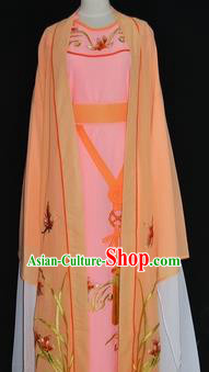China Traditional Beijing Opera Niche Embroidered Orchid Costume Chinese Peking Opera Scholar Orange Robe for Adults