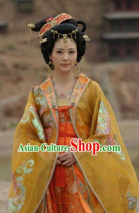 Chinese Ancient Western Xia Regime Empress Embroidered Dress Queen Replica Costume for Women