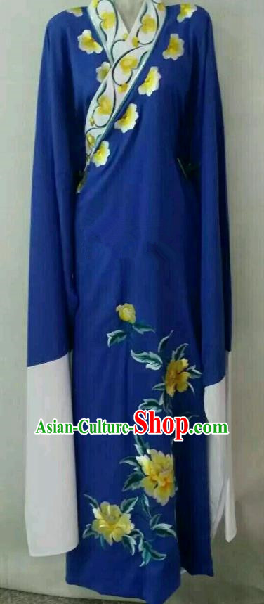 China Traditional Beijing Opera Scholar Embroidered Peony Costume Blue Robe Chinese Peking Opera Niche Clothing for Adults