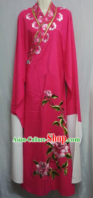 China Traditional Beijing Opera Scholar Embroidered Peony Costume Rosy Robe Chinese Peking Opera Niche Clothing for Adults