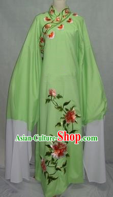 China Traditional Beijing Opera Scholar Embroidered Peony Costume Green Robe Chinese Peking Opera Niche Clothing for Adults