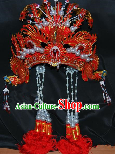 China Traditional Beijing Opera Actress Hair Accessories Chinese Peking Opera Huadan Red Phoenix Coronet for Women