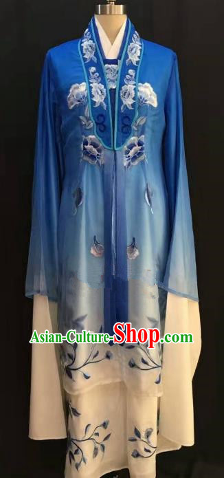 China Traditional Beijing Opera Actress Embroidered Blue Dress Chinese Shaoxing Opera Huadan Costume