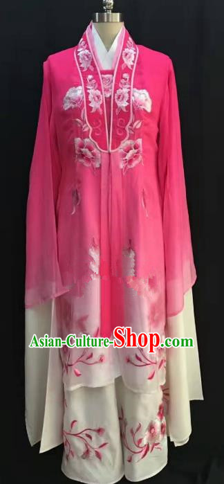 China Traditional Beijing Opera Actress Embroidered Rosy Dress Chinese Shaoxing Opera Huadan Costume