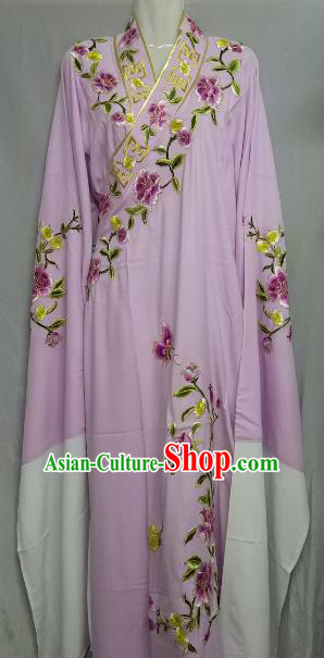 China Traditional Beijing Opera Scholar Lilac Costume Chinese Peking Opera Niche Embroidered Peony Robe for Adults