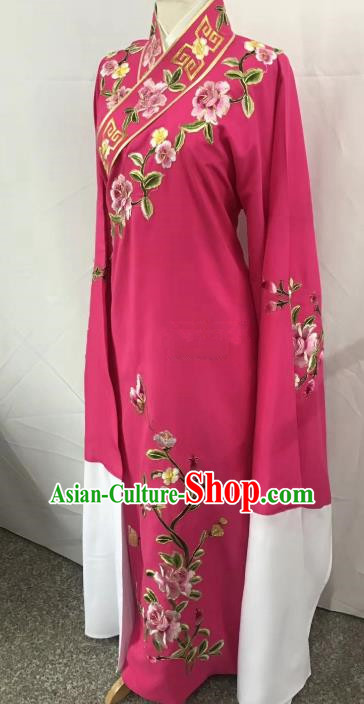 China Traditional Beijing Opera Scholar Rosy Costume Chinese Peking Opera Niche Embroidered Peony Robe for Adults
