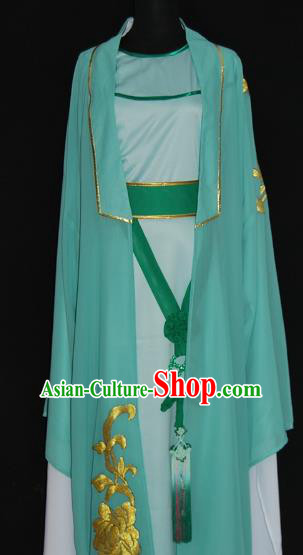 China Traditional Beijing Opera Young Men Embroidered Costume Chinese Peking Opera Niche Green Robe for Adults