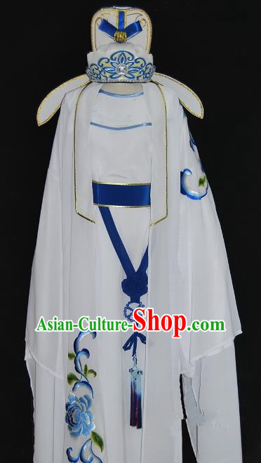 China Traditional Beijing Opera Young Men Embroidered Costume Chinese Peking Opera Niche White Robe for Adults