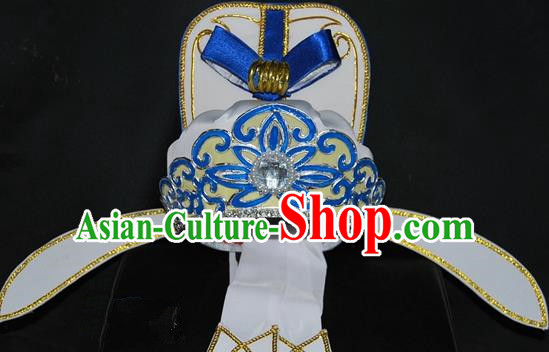 China Traditional Beijing Opera Hair Accessories Chinese Peking Opera Niche White Hats for Men
