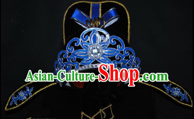 China Traditional Beijing Opera Hair Accessories Chinese Peking Opera Niche Black Hats for Men