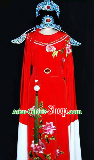 China Traditional Beijing Opera Young Men Embroidered Peony Costume Chinese Peking Opera Niche Red Robe for Adults
