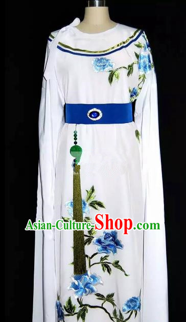 China Traditional Beijing Opera Young Men Embroidered Peony Costume Chinese Peking Opera Niche White Robe for Adults