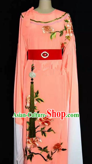 China Traditional Beijing Opera Young Men Embroidered Peony Costume Chinese Peking Opera Niche Orange Robe for Adults
