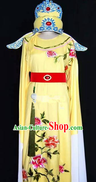 China Traditional Beijing Opera Young Men Embroidered Peony Costume Chinese Peking Opera Niche Yellow Robe for Adults