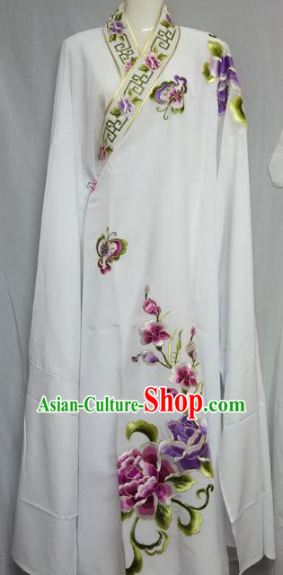 China Traditional Beijing Opera Niche Costume Embroidered Flowers White Robe Chinese Peking Opera Scholar Clothing for Adults
