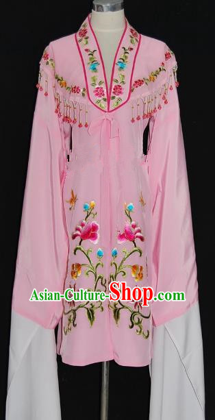 China Traditional Beijing Opera Actress Embroidered Pink Cloak Chinese Peking Opera Princess Costume