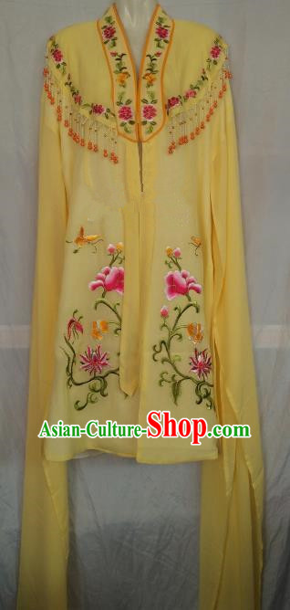 China Traditional Beijing Opera Actress Embroidered Yellow Cloak Chinese Peking Opera Princess Costume