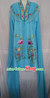China Traditional Beijing Opera Actress Embroidered Blue Cloak Chinese Peking Opera Princess Costume