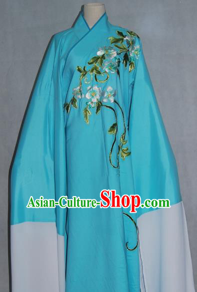China Traditional Beijing Opera Niche Costume Embroidered Flowers Blue Robe Chinese Peking Opera Scholar Clothing for Adults