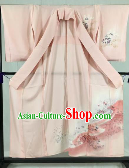 Japan Traditional Kimono Formal Costume Geisha Pink Furisode Kimonos Ancient Yukata Dress for Women