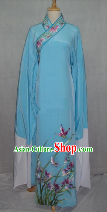 China Beijing Opera Niche Embroidered Orchid Blue Robe Chinese Traditional Peking Opera Scholar Costume for Adults