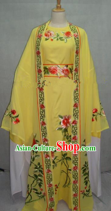 China Beijing Opera Niche Embroidered Peony Yellow Clothing Chinese Traditional Peking Opera Scholar Costume for Adults