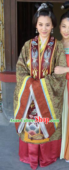 Chinese Traditional Tang Dynasty Imperial Consort Embroidered Dress Palace Replica Costume for Women