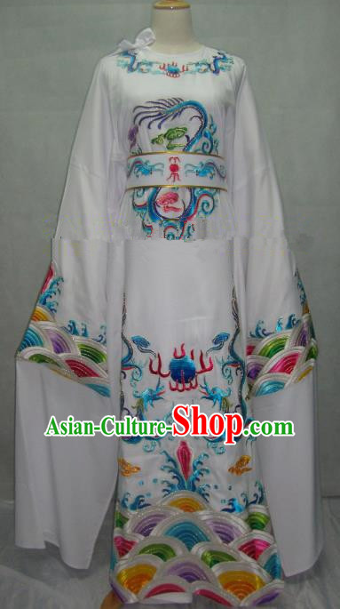 China Beijing Opera Lang Scholar White Embroidered Robe Chinese Traditional Peking Opera Niche Costume for Adults