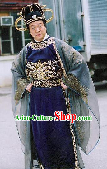 Traditional Chinese Tang Dynasty Detective Di Renjie Hanfu Replica Costume for Men