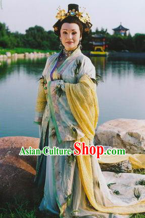 Chinese Traditional Tang Dynasty Empress Wu Embroidered Dress Queen Wu Zetian Replica Costume for Women
