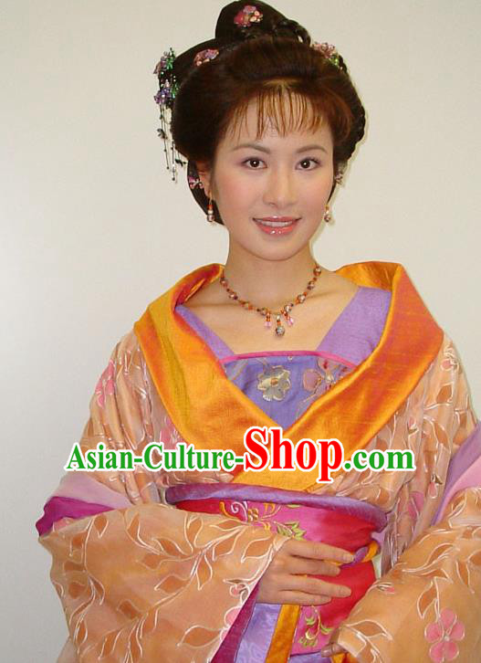 Chinese Traditional Tang Dynasty Novel Romance of the West Chamber Cui Yingying Dress Replica Costume for Women