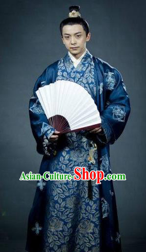 Traditional Chinese Tang Dynasty Nobility Childe Chu Shangyuan Replica Costume for Men