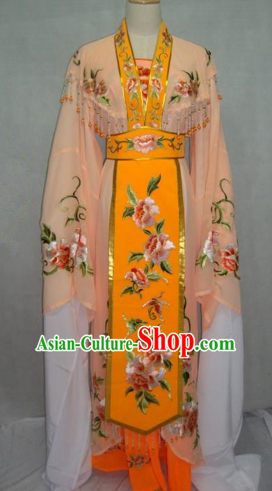 Traditional China Beijing Opera Princess Orange Dress Chinese Peking Opera Diva Embroidered Costume