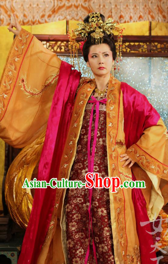 Chinese Traditional Tang Dynasty Palace Empress Wei Embroidered Replica Costume for Women