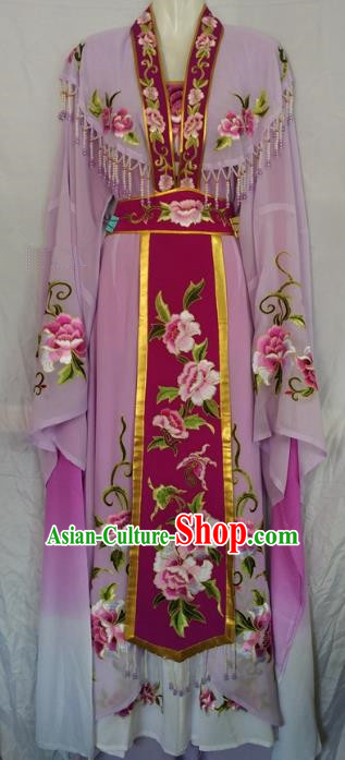Traditional China Beijing Opera Princess Purple Dress Chinese Peking Opera Diva Embroidered Costume