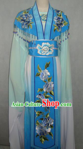 Traditional China Beijing Opera Princess Blue Dress Chinese Peking Opera Diva Embroidered Costume